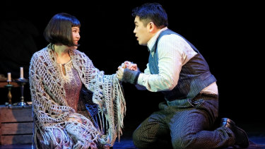 Karah Son as Mimi and Kang Wang as Rodolfo.