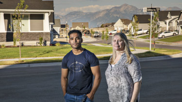 Maree de Marco and Mohammad Noor near her home in Salt Lake City.