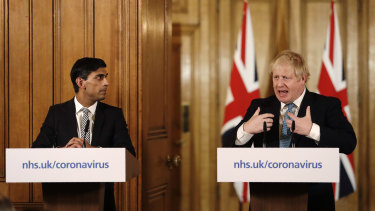 UK Chancellor of the Exchequer Rishi Sunak and Prime Minister Boris Johnson address the media at Number 10.