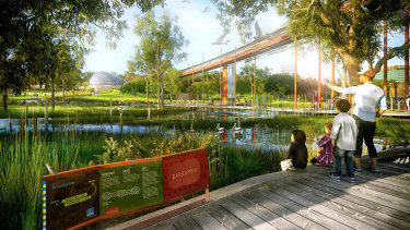 A new concept image of Lake Barrambin, set to take advantage of historical water flows on the site.