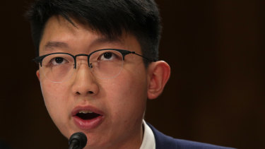 Sunny Cheung testifies during a hearing before the Congressional-Executive Commission on China in Washington.