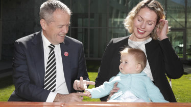 Labor leader Bill Shorten with the party's candidate for Canberra Alicia Payne and her son Paul.
