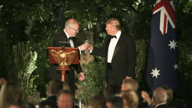 Donald Trump and Scott Morrison raise a glass at the state dinner in honour of the Prime Minister last weekend.