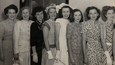 Eight of the first nine Qantas hostesses,  December 1947. Patricia Burke at far left. At far right, senior hostess Marjorie de Tracey.