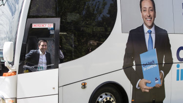 Matthew Guy on his new state election campaign bus. Seen here on the hustings in Heidelberg to Kilmore and Romsey.