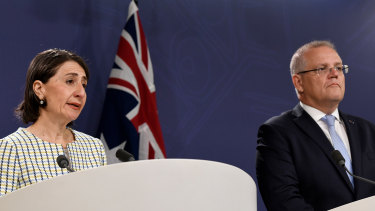 NSW Premier Gladys Berejiklian and Prime Minister Scott Morrison speak to the media in Sydney on Friday.