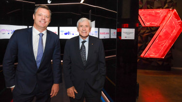Seven West Media CEO James Warburton and chairman Kerry Stokes deal with earnings headwinds.