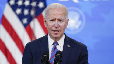 Disciplined: Joe Biden held his first press conference nearly two months after entering the White House.