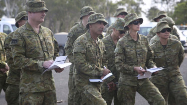 ADF reservists prepare at Holsworthy Army Barracks.