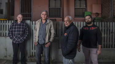 Robert Jackson, Uncle Albert Torrens, Uncle Eric Robinson and Blake Robinson say members of Redfern-Waterloo's Aboriginal community are struggling to afford housing in the rapidly-changing area.