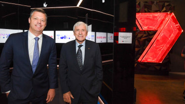 New Seven Network CEO James Warburton with Owner Kerry Stokes.