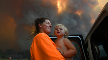 Sharnie Moran and her 18-month-old daughter Charlotte at Nana Glen, near Coffs Harbour on Tuesday.