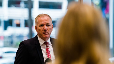 NSW Police Commissioner Mick Fuller addresses the media on Thursday on the idea of a sexual consent app.