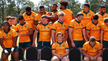 The Wallabies during a team photo on Friday ahead of their clash against South Africa.