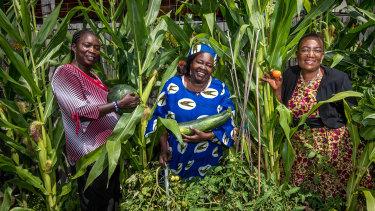 Veronica Agobong, Rita Padang and SelbaGondoza Luka in the Afri-Aus Care community garden.