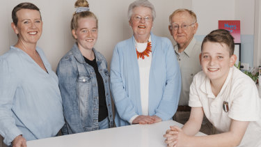 What's in a name? Michelle Paciullo, left, with her children Chelsea and Will and parents Carol and Robert Hamblion.