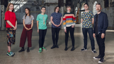 Head of Children's & YA Programs Amelia Lush and Artistic Director Michaela McGuire with top picks Bri Lee, Holly Thorsby, Oliver Phommavanh, Matt Cosgrove and Aaron Blabey.