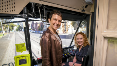 Roads Minister Jaala Pulford (left) with Public Transport Minister Melissa Horne.
