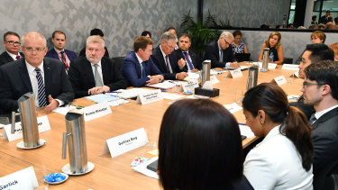 Australian government ministers met with representatives from social media sites and telecommunications companies.