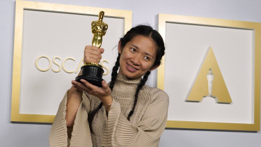 Director/producer Chloe Zhao, winner of the Oscar for best picture for Nomadland.