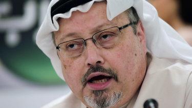 Saudi journalist Jamal Khashoggi speaks during a press conference in Manama, Bahrain in 2015.