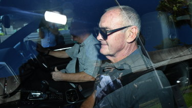 Chris Dawson is driven from Silverwater jail in Sydney after being freed on bail on Monday afternoon,