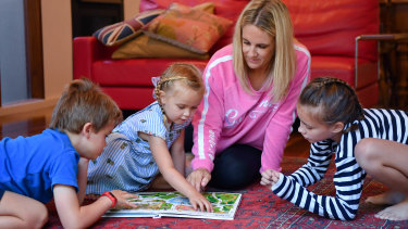 Georgie Spring's new-look work days revolve around breaks with her children Alex, 6, Florence, 4 and Sophie, 9.