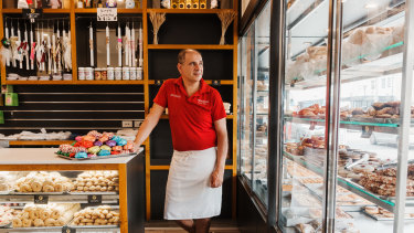 Arthur Efthymiou, owner of Trianon Cake Shop in Earlwood, trades in the old Canterbury City Council area, where business rates could go up by 62 per cent.
