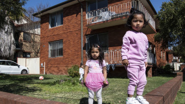 Saira Gurung (left) playing with her cousin Sharon Shrestha in Campsie.