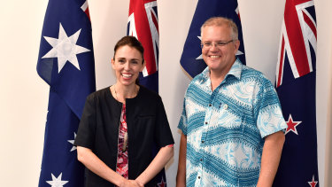 New Zealand's PM Jacinda Ardern meets with Australia's PM Scott Morrison.