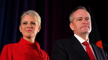 Bill Shorten, on stage with wife Chloe, conceding defeat.