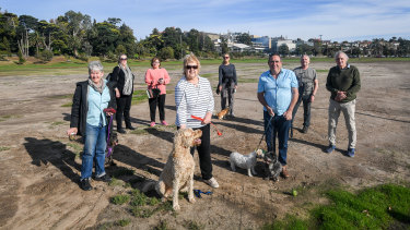Footscray residents, including former mayor Sara Coward (centre) and Steve Wilson (far right), are sceptical of development plans they say aren't beneficial to the wider community.