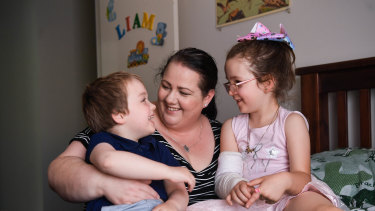 Angela Hind with her daughter Matilda, 6, and son Liam, 4.