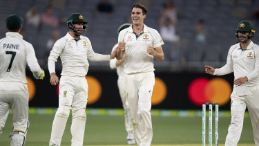 High and mighty: Australian bowler Pat Cummins celebrates after dismissing New Zealand batsman Colin de Grandhomme.