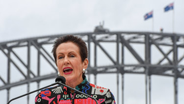 Lord mayor Clover Moore speaks at the launch of the City of Sydney's New Year's Eve celebrations on Tuesday.