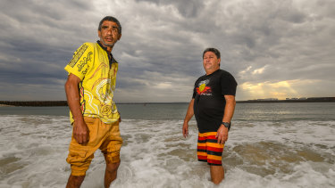 Tim Ella, left, and Trevor Walker, say a proposed cruise terminal at Yarra Bay would kill off Indigenous cultural fishing in the area.
