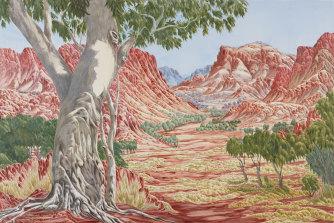 Defiantly non-realist: Hubert Pareroultja's2020 Wynne Prize-winning painting 'Tjoritja (West MacDonnell Ranges, NT)'.