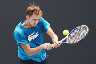 Daniil Medvedev practices ahead of the Australian Open starting on Monday.