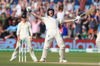 Ben Stokes celebrates victory after his stunning century at Headingley.