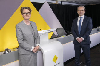 Chairman Catherine Livingstone and CEO Matt Comyn at the 2021 Commonwealth Bank online annual general meeting, where there was a 19% vote against a long-term incentive for the CEO