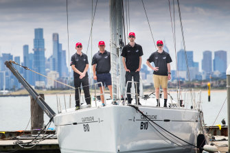 Melbourne to Devonport racers, Glen Merchant, Steven Fahey, Damon Fahey and Nick Fahey on their yacht Cartouche at the Royal Brighton Yacht Club.