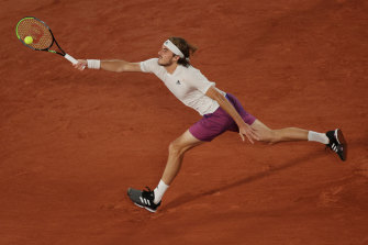 Stefanos Tsitsipas at full stretch in his third-round victory at Roland-Garros.