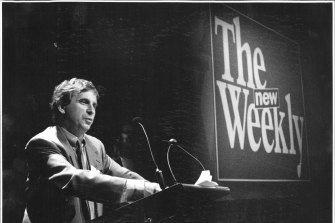 Richard Walsh unveiling plans for The New Weekly magazine in August 1993.