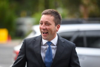 Former leader Matthew Guy arriving at Parliament on Tuesday, the day after his team dissuaded colleagues from the spill.