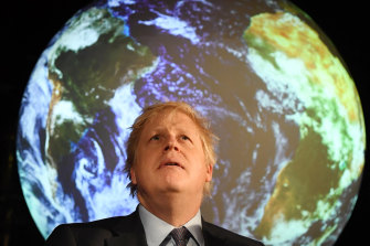 UK Prime minister Boris Johnson at the launch of the UK-hosted COP26 UN Climate Summit, being held in partnership with Italy in Glasgow in November.