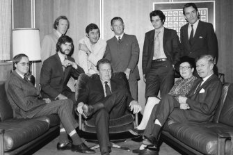 Percy Beames, fifth from left, became a journalist at The Age after exemplary chapters as a footballer and cricketer.