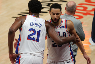 Ben Simmons (right) with fellow 76ers star Joel Embiid.