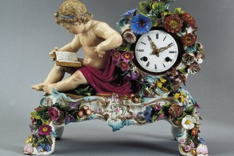 A highly decorated 19th century Meissen clock appeals to a high camp soul.