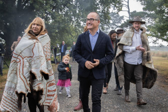 Aunty Geraldine Atkinson of the First Peoples' Assembly with acting Premier James Merlino and (right) Marcus Stewart at the launch of the Yoo-rrook Justice Commission in Coranderrk, Victoria, on Tuesday.