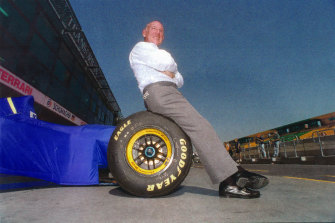 Stirling Moss who won in Melbourne during the 1950s against the likes of Jack Brabham takes in the new circuit at Albert Park in 1996.